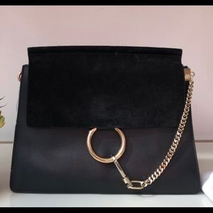 Chloe Faye Black Suede Flap with Leather